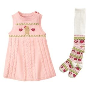 Gymboree Gingerbread girl dress with tights